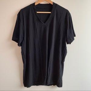 Lululemon V Neck Tee Shirt Black Size Large